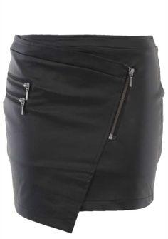 Angled Pu Zips Skirt - Live Clothing
