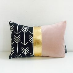 """Black and White Arrow Pillow Cover 13""""x18"""" Lumbar Cushion Graphic Modern Dusty Rose Pink Pale Pastel Velvet Color Block Metallic Gold"""