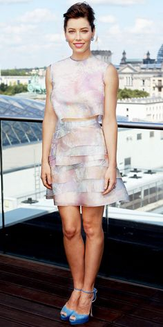 In Berlin, Jessica Biel greeted fans at a Total Recall press event in a pastel ensemble, stud earrings and ankle-strap platforms.