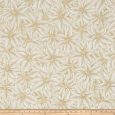 Warm Wishes Metallic Poinsettia Leaves Natural/Gold from @fabricdotcom  Designed by Hoffman California International this cotton print is perfect for apparel, quilting and home decor accents. Colors include shades of beige, shades of cream, white and gold metallic accents.