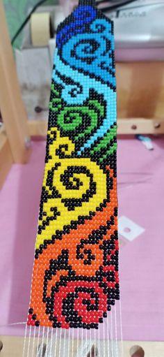 Beads Loom in progress. Loom Bracelet Patterns, Bead Loom Bracelets, Beaded Jewelry Patterns, Bead Loom Designs, Beadwork Designs, Pony Bead Patterns, Weaving Patterns, Seed Bead Crafts, Bead Jewellery