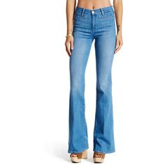 M.i.h Jeans Marrakesh Flared Jean ($100) ❤ liked on Polyvore featuring jeans, navo blue, flare jeans, wide leg blue jeans, blue jeans, zipper jeans and flared jeans