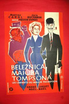 DIARY OF MAJOR THOMPSON 1955 MARTINE CAROL JACK BUCHANAN RARE EXYU MOVIE POSTER