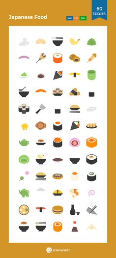 Japanese Food  Icon Pack - 60 Flat Icons