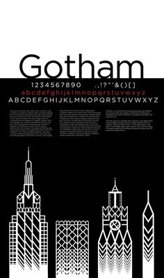 Gotham, I like the balance of white and black. Poster Fonts, Type Posters, Typography Poster, Type Design, Layout Design, Graphic Design, Gotham Font, Gotham City, Book Design Inspiration