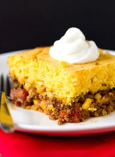 Tamale Pie. Yum, yum, yum, and yum! Very flavorful and filling. Followed recipe as is, adding the olives. Baked 25 minutes. Takes ~1 hour from start to oven.