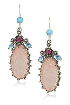 Carved Rose Quartz with Ruby Earrings