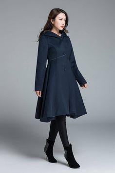 Wool Coat Winter Coat Red coat hooded coat women coat | Etsy Ladies Hooded Coats, Coats For Women, Mode Cool, Mode Mantel, Hooded Wool Coat, Cool Coats, Fashion Mode, Hijab Fashion, Swing Coats