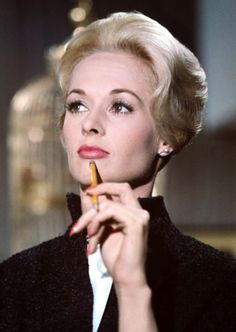 """Gorgeous Tippi Hedren in Alfred Hitchcock's """"The Birds"""" in 1963. She is mother to TV star Melanie Griffith."""