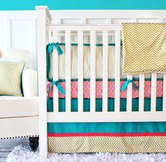 Caden Lane Gold Chevron Crib Bedding #gold #chevron #nursery