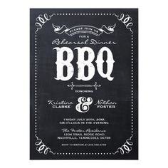 RUSTIC MODERN CHALKBOARD REHEARSAL DINNER BBQ PERSONALIZED ANNOUNCEMENTS