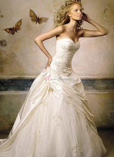 UBK UsereBrautKleider---Elegant A-Linie Herzförmig Natürlich Taile Schmuck Taft Hochzeitskleid Brautkleid
