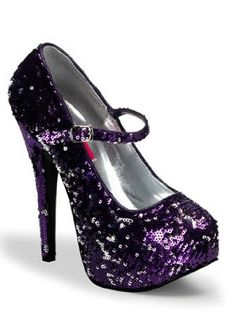 Purple Sequin Platform High Heel Pump - 6,