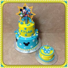 Yellow & Blue Mickey Mouse Birthday Cake