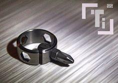 """Ti - 1/4"""" titanium bit driver ring multitool."""