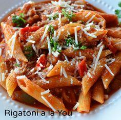 Rigatoni a la You  I used Johnsonvillle mild Italian Sausage. Delish!