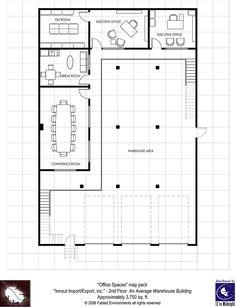 Modern Floorplans: Two-Story Warehouse - Fabled Environments |  | Modern FloorplansDriveThruRPG.com