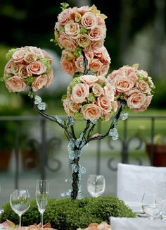 """38""""' Pewter Flower & Candle Display Centerpiece Tree (5 tiers)   $75"""