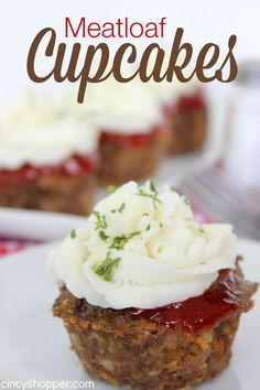 Meatloaf Cupcakes Recipe. These were a HUGE hit with the whole family. The kiddos loved the mini meatloaves topped with mashed potatoes. So simple to make!