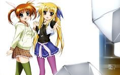 """Photo Shoot"":Fate Testarossa and Nanoha Takamachi from the anime series Mahou Shoujo Lyrical Nanoha ( 魔法少女リリカルなのは )"