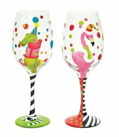 Handpainted Wine Glass 2 Asst Ally & Francis, Northern Lights by Evergreen. $43.49