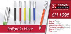 El artículo del día es el SH 1095 Bolígrafo Ekhor (Mecanismo Twist) Conoce más de él en www.Promoopcion.Com Material: Plástico Medida: 1 x 14 cm Área de impresión: 0.8 x 4.7 cm Técnica de impresión recomendada: Serigrafía Colores: azul / negro / naranja / rojo / verde / amarillo  Consulta existencias y precios con tu ejecutiva de cuenta.