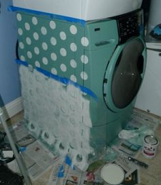 DIY painting & stenciling your washer & dryer! LOVE! I'm so doing this. It'll make having a washer in the kitchen easier to look at lol
