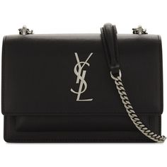 Saint Laurent Monogram Sunset leather wallet-on-chain (16 990 ZAR) ❤ liked on Polyvore featuring bags, wallets, leather wallets, strap wallet, chain shoulder bag, zip bag and monogram wallet