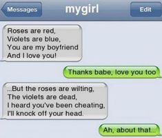 Funny Text Jokes to Send to Friends 2 49 Lol Cheating Boyfriend Poems Avoid Cheating Very Funny Texts, Funny Texts Jokes, Text Jokes, Funny Text Fails, Cute Texts, Funny Text Messages, Really Funny Memes, Funny Relatable Memes, Stupid Texts