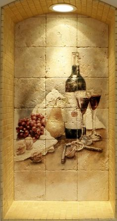 Wine Cellar Design Ideas | Pictures of wine cellar tile murals with landscapes, still life murals on travertine by StoneImpressions.