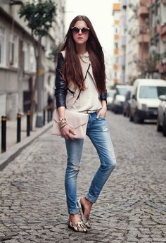 distressed denim with leather jacket