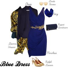Blue Dress by sophie-poualion on Polyvore featuring Notte by Marchesa, Oasis, Versace, Ralph Lauren Collection, Rupert Sanderson and Linda Farrow