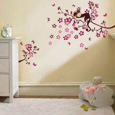 Sleeping Monkey on Pink Flower Tree Wall Sticker for children bedroom baby nursery: Amazon.co.uk: Kitchen & Home