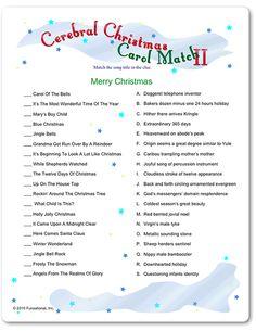 Printable Cerebral Christmas Carol Match II. (This and Xmas carol synonyms. )