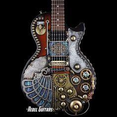 Gibson Guitar steampunk'd by Franco Design Studio ht Tatoo Steampunk, Steampunk Crafts, Steampunk Design, Steampunk Fashion, Steampunk Interior, Gothic Fashion, Unique Guitars, Custom Guitars, Vintage Guitars