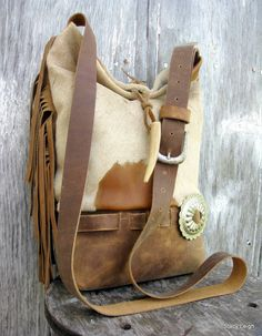 Cross body Leather Bag in Acid Washed Cowhide with Deer Antler by Stacy Leigh Ready to Ship