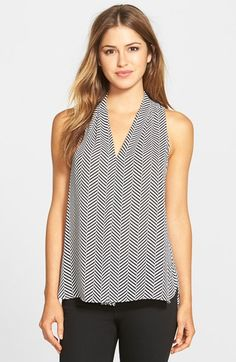 Vince Camuto Sleeveless Pleat Front V-Neck Top available at #Nordstrom