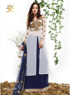 Excellent Nevy Blue And White Georgette Anarkali Salwar Kameez - See more at: http://www.angelnx.com/Salwar-Kameez/Anarkali-Suits/
