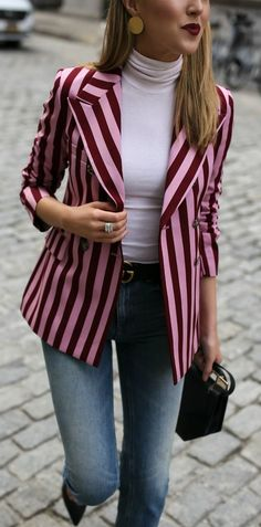 Click for outfit details! Pink and red striped statement blazer, cream turtleneck, straight leg jeans, classic black pumps, black leather belt and structured mini black bag {Alexa Chung, Gucci, M2Malletier, wear to work, classic dressing, statement blaze