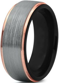 Tungsten Wedding Band Ring 8mm for Men Women Black