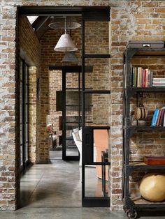 sliding metal french doors in brick walls... yes
