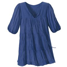 Romantic Poet's Shirt  Exclusive! Poetry in Motion. Slip into the style of Keats and Shelley! Ultra-romantic, crinkle-textured, tunic-length top features a deep V-neck with front ties and elasticized, three-quarter sleeves.