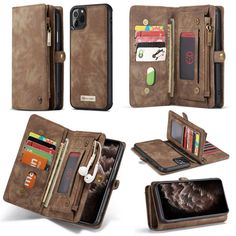 CaseMe iPhone 11 Pro Zipper Wallet Detachable 2 in 1 Case Coffee Iphone Leather Case, Leather Wallet, Iphone 11, Iphone Cases, Train Tickets, Travel Light, Leather Cover, Leather Fashion, How To Introduce Yourself