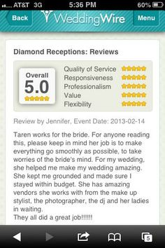 This review doesn't lie.  I can do the same for you!  www.diamondreceptions.com Orlando Wedding, Keep In Mind, Receptions, Event Design, Wedding Planning, Diamond, Reading, Wedding Ceremony Outline, Word Reading