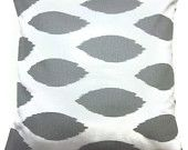 Two Gray White Decorative Pillow Covers Handmade 16 inch