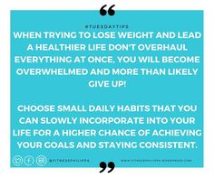 #tuesdaytips - Being motivated to start a new healthy lifestyle is great but if you take on too much all at once you could be setting yourself up for failure.  Instead of throwing away everything in your house you don't think will fit into your new healthy life and telling everyone your going to hit the gym twice a day seven days a week when you have never trained before or you have never cooked a meal from scratch and rely on fast food is just not realistic.  It's time to start small by…