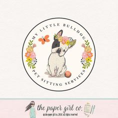 bulldog logo french bulldog logo frenchie dog by ThePaperGirlCo