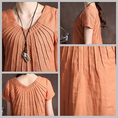 orange tunic dress with tucks / linen tunic by camelliatune, $72.00