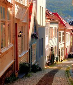 Beautiful houses on the streets of Bergen, Norway