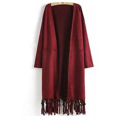 Open Front Tassel Pockets Wine Red Coat (436165 BYR) ❤ liked on Polyvore featuring outerwear, coats, red, open front coat, red coat, long coat, long red coat and collarless coat